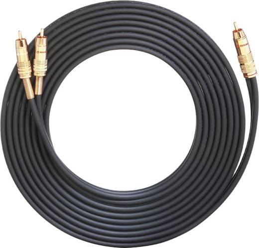 Oehlbach Cinch Audio Anschlusskabel [1x Cinch-Stecker - 2x Cinch-Stecker] 7 m Schwarz vergoldete Steckkontakte