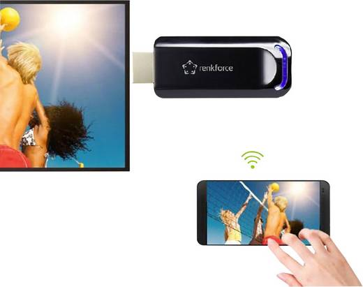 Renkforce renkCast 2 HDMI Streaming Stick AirPlay, Miracast, DLNA, externe Antenne