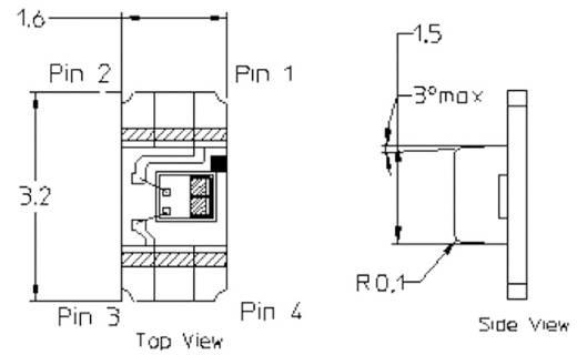 Lichtsensor Broadcom APDS-9006-020 CHIP-LED-4 SMD 1 St. 2.4 - 5.5 V/DC (L x B x H) 3.2 x 1.6 x 1.1 mm
