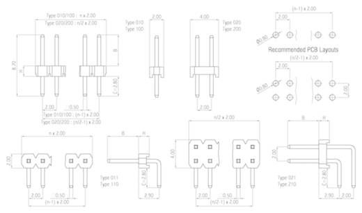 W & P Products Stiftleiste (Standard) Anzahl Reihen: 2 Polzahl je Reihe: 20 314-210-040-00 1 St.