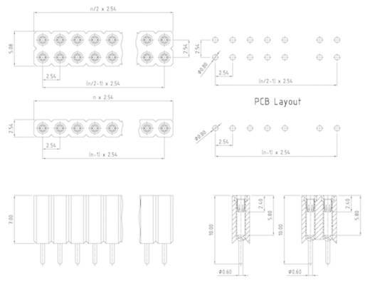 W & P Products Buchsenleiste (Präzision) Anzahl Reihen: 1 Polzahl je Reihe: 50 153-050-1-50-00 1 St.