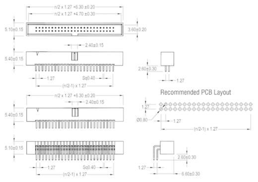 W & P Products Stiftleiste Rastermaß: 1.27 mm Polzahl Gesamt: 44 Anzahl Reihen: 2 1 St.