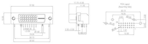 DVI-Steckverbinder Buchse, Einbau horizontal Polzahl: 29 Silber W & P Products 507-29-2-2-20 1 St.