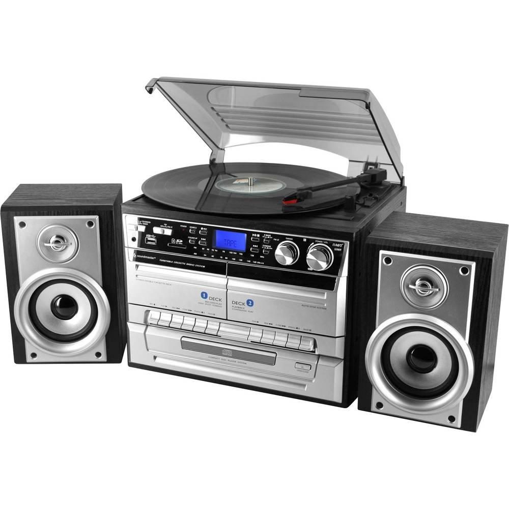 soundmaster mcd4500 stereoanlage cd aux kassette sd usb plattenspieler mw ukw schwarz. Black Bedroom Furniture Sets. Home Design Ideas