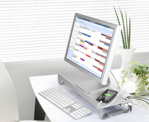 Monitor-Erhöhung Renkforce MS-220 Höhen-Bereich: 7.2 cm (max) Silber