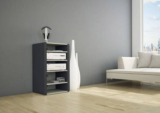 schnepel elf hifi rack mit abgerundeten seiten aus beschichtetem metall in matt schwarz b den. Black Bedroom Furniture Sets. Home Design Ideas