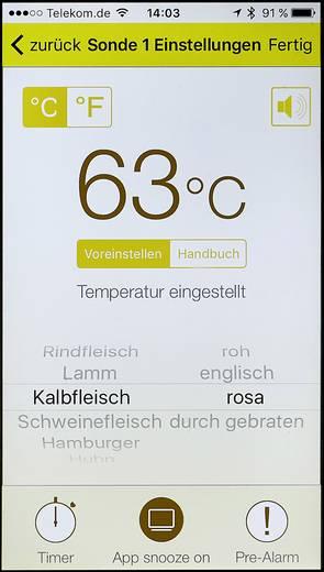 Grill-Thermometer Kostenlose App, Kabelsensor, Alarm, Automatisches Abschalten Renkforce
