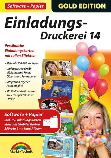 Markt & Technik Einladungs Druckerei 14 Gold Edition Vollversion, 1 Lizenz Windows Vorlagenpaket