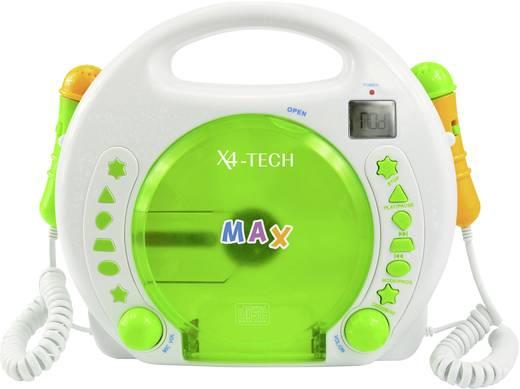 Kinder CD-Player X4 Tech Bobby Joey CD, SD, USB Inkl. Karaoke-Funktion, Inkl. Mikrofon Weiß, Grün
