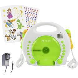 Detský CD prehrávač X4 Tech Bobby Joey CD, SD, USB vr. karaoke, vr. mikrofónu, biela, zelená