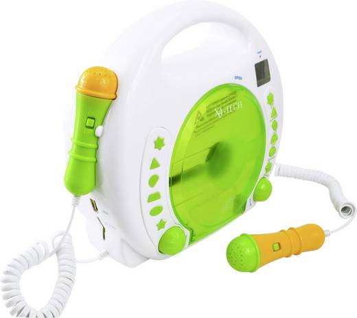 X4 Tech Bobby Joey Kinder CD-Player CD, SD, USB Inkl. Karaoke-Funktion, Inkl. Mikrofon Weiß, Grün