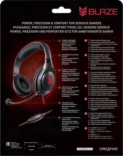 Gaming Headset 3.5 mm Klinke schnurgebunden, Stereo Creative Sound Blaster Blaze Over Ear Schwarz/Rot