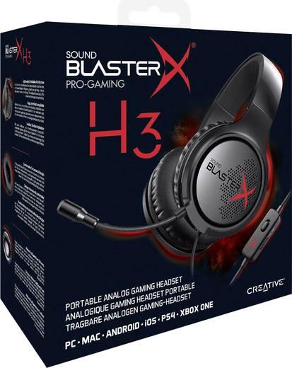 Gaming Headset 3.5 mm Klinke schnurgebunden, Stereo Sound BlasterX Sound BlasterX H3 Over Ear Schwarz/Rot