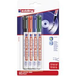 Edding 4-8400-4-1999, 4-8400-4-1999 popisovač na CD/DVD , 0.5 mm, 1 mm, černá, červená, zelená, modrá, 4 ks/bal.
