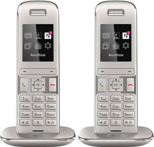 Schnurloses Telefon VoIP Telekom Speedphone 50 Platin Duo Set Optische Anrufsignalisierung Farb-TFT/LCD Platin