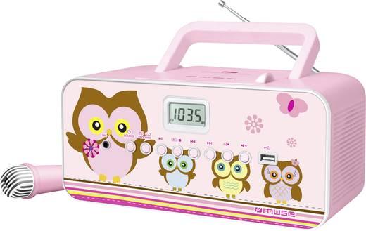 Muse M-29 KP Kinder CD-Player CD, MW, UKW, USB Inkl. Karaoke-Funktion, Inkl. Mikrofon Rosa