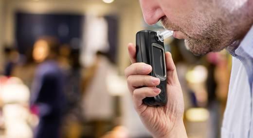 Renkforce TFT FiT239C Alkoholtester Schwarz 0 bis 4 ‰ inkl. Display, Verschiedene Einheiten anzeigbar, Uhr, Alarm