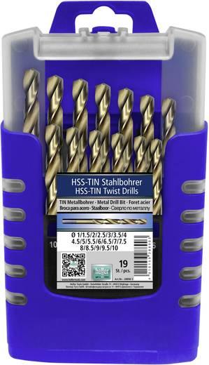 HSS Metall-Spiralbohrer-Set 19teilig Heller 28890 3 TiN DIN 338 Zylinderschaft 1 St.