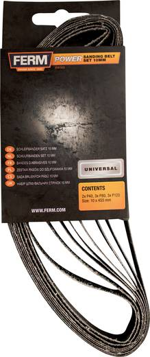 Schleifband-Set Körnung 40, 80, 120 (L x B) 455 mm x 10 mm Ferm EFA1003 1 Set