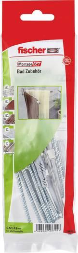 Fischer 534593 Montageset Bad Zubehör Inhalt 1 Set 8x Universaldübel UX 6 x 35 R · 8x Schraube 5 x 60 mm A2 · 1x Steinbo