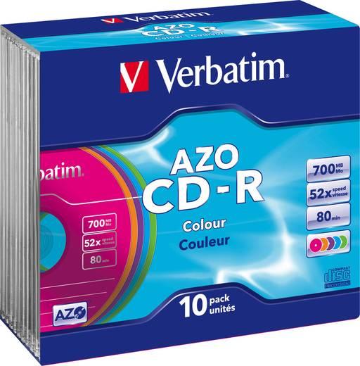 CD-R 80 Rohling 700 MB Verbatim 43308 10 St. Jewelcase Farbig
