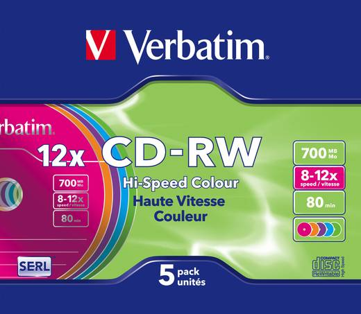CD-RW Rohling 700 MB Verbatim 43167 5 St. Jewelcase Farbig, Wiederbeschreibbar