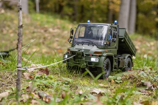 Carson Modellsport Unimog Mercedes Benz U300 Forst 1:12 RC Einsteiger Funktionsmodell Baufahrzeug inkl. Akku, Ladegerät