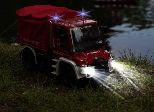 Carson Modellsport Unimog Mercedes Benz U300 Feuerwehr 1:12 RC Einsteiger Funktionsmodell Baufahrzeug inkl. Akku, Ladege