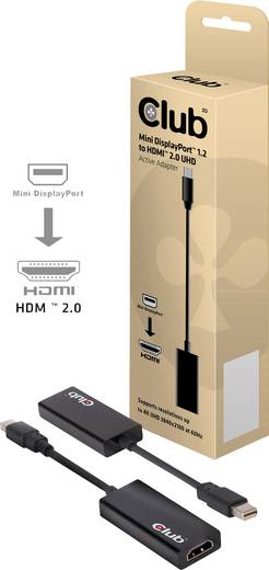 club3D DisplayPort / HDMI Adapter [1x Mini-DisplayPort Stecker - 1x HDMI-Buchse] Schwarz