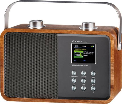 Albrecht DR 850 DAB+ Kofferradio AUX, Bluetooth®, DAB+, UKW Holz, Silber