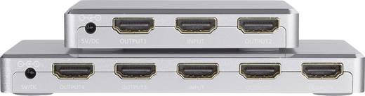 SpeaKa Professional 4 Port HDMI-Splitter mit Aluminiumgehäuse, Ultra HD-fähig 3840 x 2160 Pixel