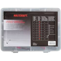 Sada krokosvoriek VOLTCRAFT 1417395, čierna, červená, dĺžka: 230 mm, 42 ks
