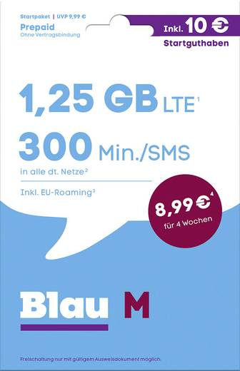 Blau.de M Prepaid-Karte ohne Vertragsbindung
