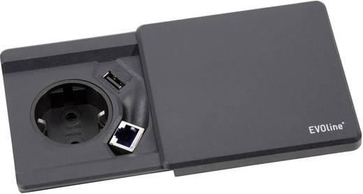 evoline 159270000100 einbau steckdose mit usb mit cat6 buchse schwarz kaufen. Black Bedroom Furniture Sets. Home Design Ideas