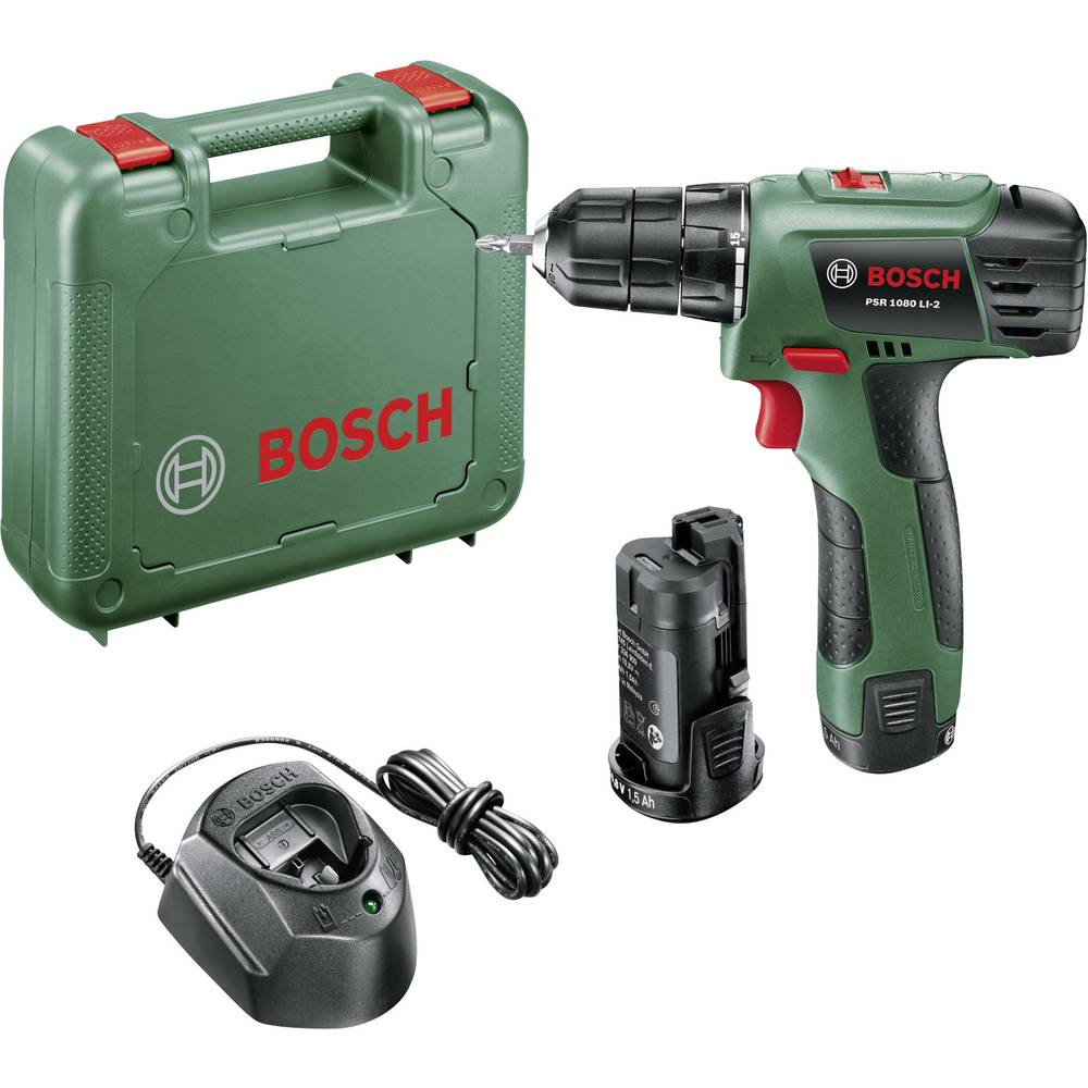 bosch home and garden psr 1080 li 2 cordless drill 10 8 v 1 5 ah li ion incl spare battery. Black Bedroom Furniture Sets. Home Design Ideas