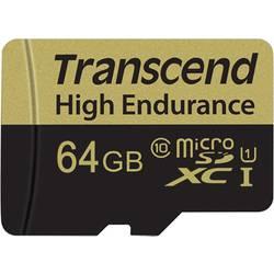 Pamäťová karta micro SDXC, 64 GB, Transcend High Endurance, Class 10, vr. SD adaptéru