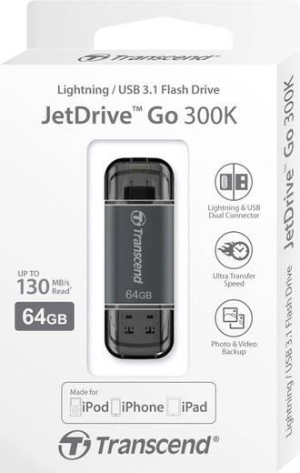 USB-Zusatzspeicher Smartphone/Tablet Transcend JetDrive™ Go 300 Schwarz 64 GB USB 3.1, Apple Lightning