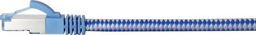 """RJ45 Netzwerk Anschlusskabel CAT 6a S/FTP """"Premium"""" 0.5 m Blau-Grau Stoff-Ummantelung, vergoldete Steckkontakte, Flammwi"""