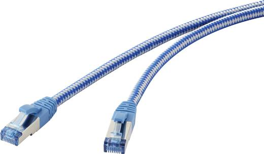 """RJ45 Netzwerk Anschlusskabel CAT 6a S/FTP """"Premium"""" 3 m Blau-Grau Stoff-Ummantelung, vergoldete Steckkontakte, Flammwidr"""