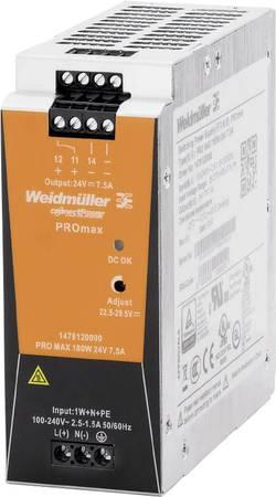 Síťový zdroj na DIN lištu Weidmüller PRO MAX 180W 24V 7,5A, 24 V, 7.5 A, 180 W