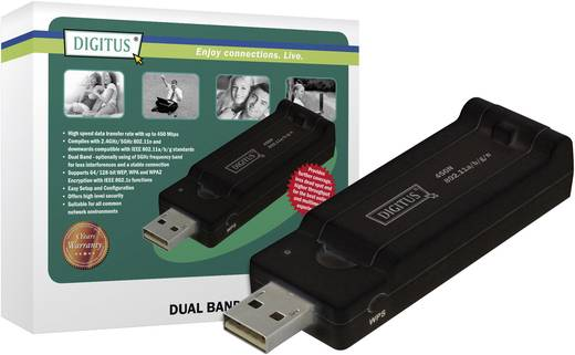 DIGITUS Adapter Wireless 450N Dual Band USB 2.0 450 MBit/s Funk-Technologie2,4 oder 5 GHz