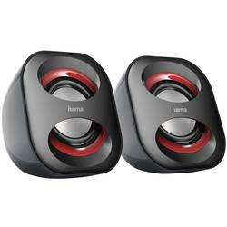 PC reproduktory Hama Sonic Mobil 183, káblový, 3 W, čierna, červená
