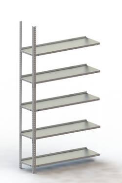 Image of Aktenregal-Anbaumodul (B x H x T) 1002 x 1850 x 304 mm Stahl pulverbeschichtet Licht-Grau Metallboden META 65882