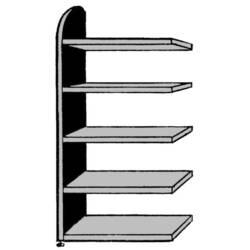 Image of 9706 Aktenregal-Anbaumodul (B x H x T) 820 x 1900 x 325 mm Stahl, Holz lackiert, pulverbeschichtet Weiß Metallboden