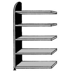Image of 9841 Aktenregal-Anbaumodul (B x H x T) 1020 x 1900 x 325 mm Stahl, Holz lackiert, pulverbeschichtet Lichtgrau Metallboden