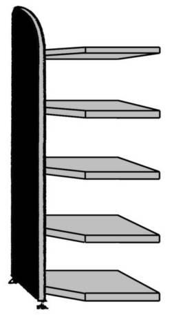 Image of Akteneckregal-Anbaumodul (B x H) 620 mm x 1900 mm Stahl, Holz lackiert, pulverbeschichtet Licht-Grau Metallboden 9844
