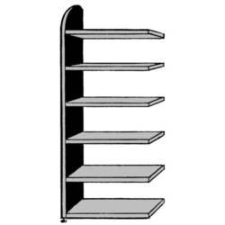Image of 9820 Aktenregal-Anbaumodul (B x H x T) 820 x 2250 x 325 mm Stahl, Holz lackiert, pulverbeschichtet Lichtgrau Metallboden
