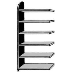 Image of 9821 Aktenregal-Anbaumodul (B x H x T) 1020 x 2250 x 325 mm Stahl, Holz lackiert, pulverbeschichtet Lichtgrau Metallboden