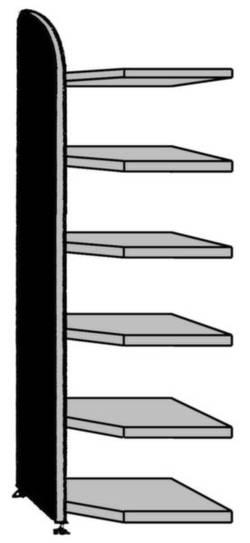 Image of Akteneckregal-Anbaumodul (B x H) 620 mm x 2250 mm Stahl, Holz lackiert, pulverbeschichtet Licht-Grau Metallboden 9854
