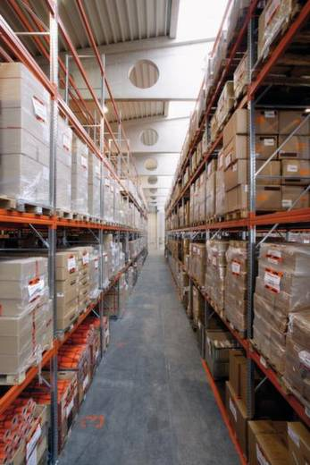 Palettenregal-Anbaumodul (B x H x T) 1885 x 3300 x 800 mm Stahl verzinkt, pulverbeschichtet Verzinkt, Rot-Orange Travers